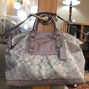 💕 Coach light purple gray xl satchel bag gorgeous